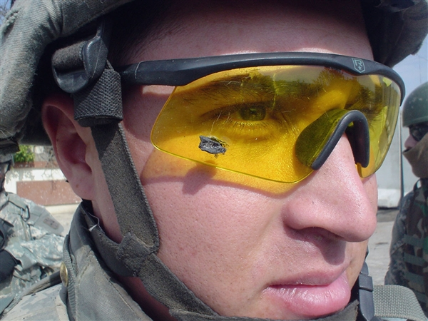 U.S. Army 1st Lt. Anthony Aguilar wears the ballistic protective eyewear