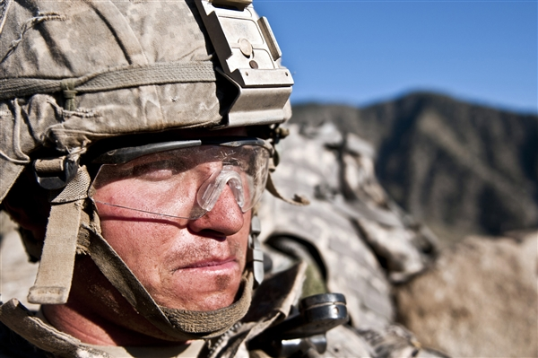 Ballistic eye protection, as worn here by Army Cpl. Justin L. Gessert, a 327th Infantry Regiment soldier.