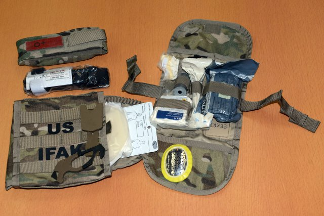 Individual First Aid Kit II with Eye-shield.